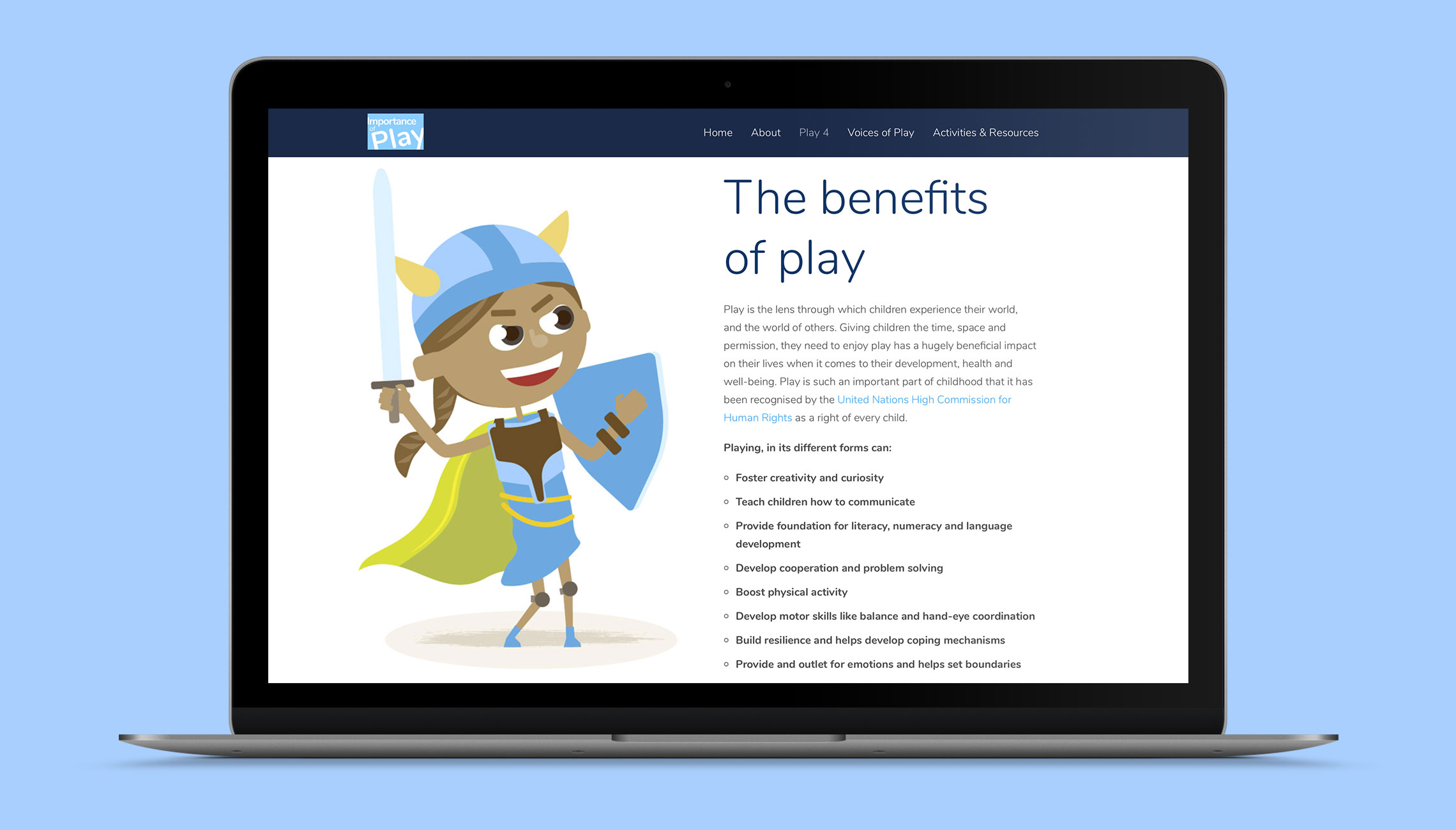 web: Design of the 'Importance of Play' site - image 2
