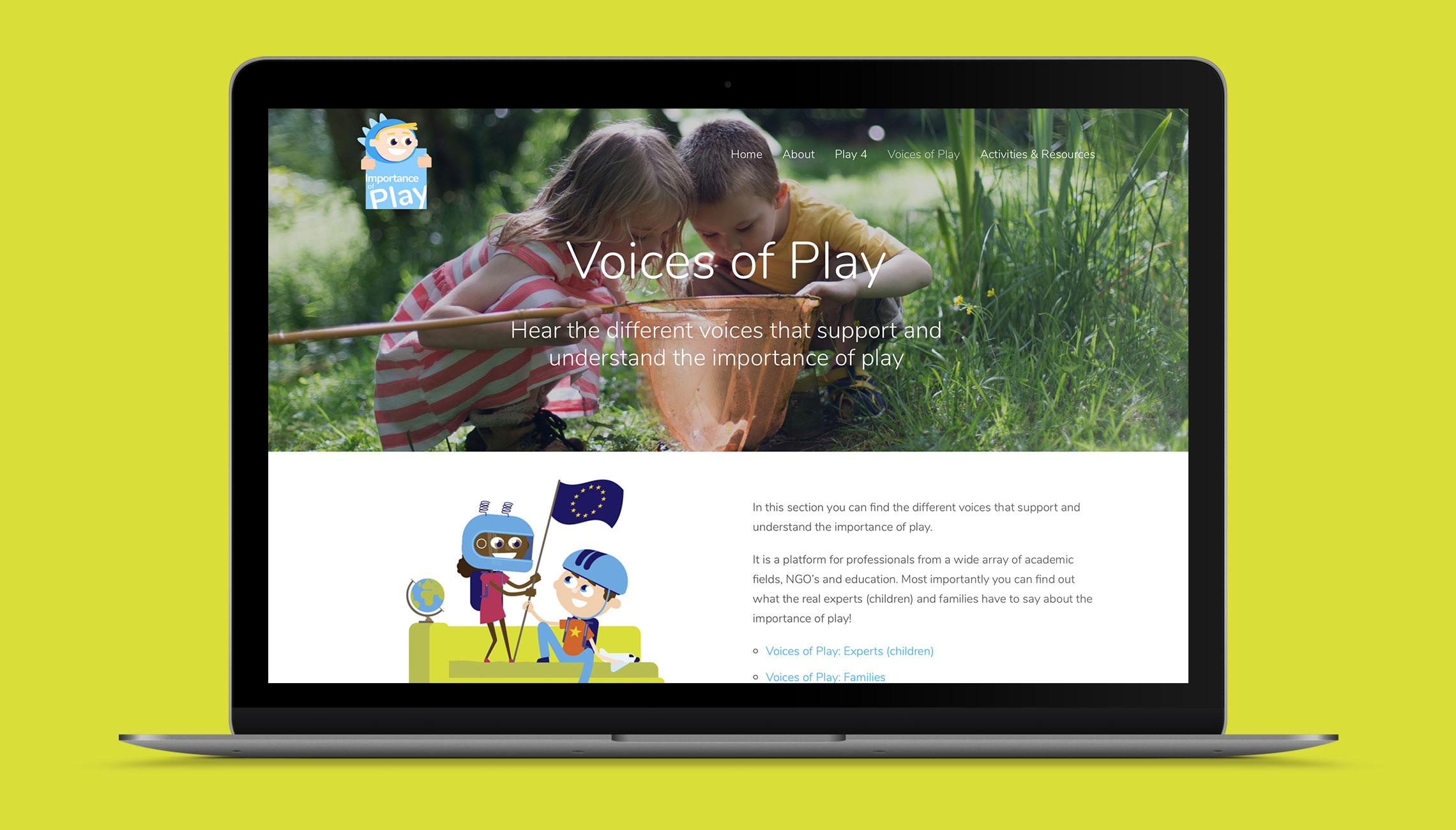 web: Design of the 'Importance of Play' site - image 3